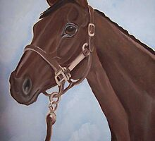 Racehorse Montana horse portrait oil painting by coolart