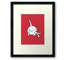 Cat washing bottom Framed Print