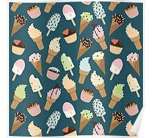Ice-cream Pattern Blue Poster