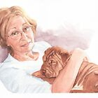 Woman and shar-pei puppy watercolor by Mike Theuer