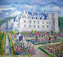 Chateau de Villendry watercolor painting by coolart