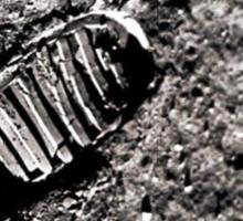 First moon footprint. Sticker