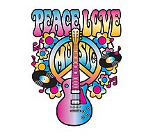 Peace, Love and Music in Bright Colors Photographic Print