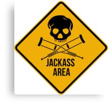 Jackass area caution sign.  Canvas Print