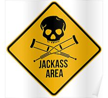 Jackass area caution sign.  Poster