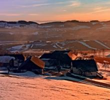 Colorful winter wonderland sundown | landscape photography Sticker