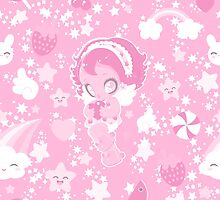 Cute funny girl with a heart pattern pink by Uchakina