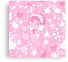 Cute funny girl with a heart pattern pink Canvas Print