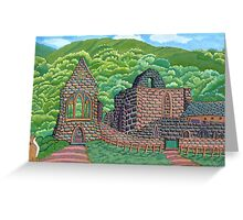 221 - VALLE CRUCIS ABBEY, WALES - DAVE EDWARDS - INK & GOUACHE - 2008 Greeting Card