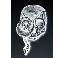 White Inverted Skull Photographic Print