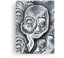 White Skull Collage Canvas Print