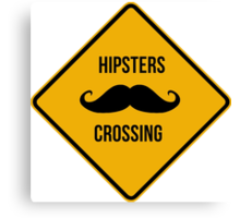 Hipsters crossing. Moustache caution sign. Canvas Print