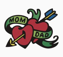 Vintage Tatoo Heart Arrow Banner. Mom and Dad Kids Clothes