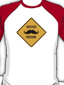 Hipsters crossing. Moustache caution sign. T-Shirt