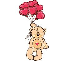 Cute Teddy Bear Valentine With Heart Balloons Photographic Print