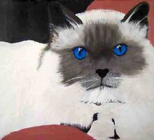 All in the EYES Birman Blue cat portrait oil painting by coolart