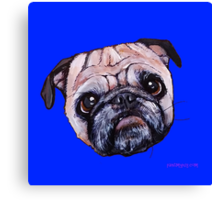 Butch the Pug - Blue Canvas Print