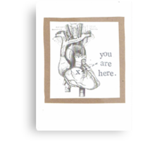 You Are Here Anatomical Heart Metal Print