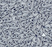 Blue doodle pattern with sky by Patternalized