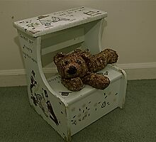 Child's Stool & Bear by KitNClicks