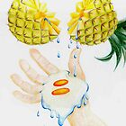 Pineapple egg water hand by Celinda