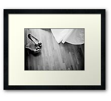 Wedding white dress and bridal shoes of bride on floor photo Framed Print