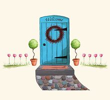 Welcome Blue Door and Stone Pathway by Michelle Meyer