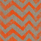 Orange chevron on linen by vinpez