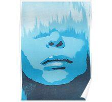 Face & Fringe Blue Poster