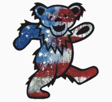 Grateful Dead Dancing Bear American Flag by Jason Levin