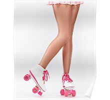 Young woman long legs in pink roller skates art photo print Poster