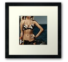 Artistic portrait of a girl with skateboard at the beach art photo print Framed Print