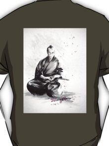 Samurai sign, japanese warrior ink drawing, mens gift idea large poster T-Shirt