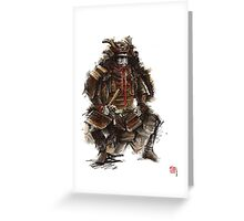 Samurai armor, japanese warrior old armor, samurai portrait, japanese ilustration art print Greeting Card