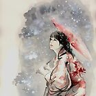 Geisha sign room decoration, japanese woman wall print, geisha figurine large poster by Mariusz Szmerdt