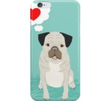 Valentines Pug with Heart - I Love You - Heart, pug, dog, cute, trendy iPhone Case/Skin