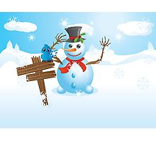 Snowman and signboard Photographic Print