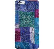 Patchwork, Flowers, Swirls - Blue Pink Green iPhone Case/Skin