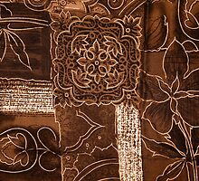 Patchwork, Flowers, Petals, Swirls - Brown by sitnica