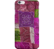 Patchwork, Flowers, Swirls - Pink Green Purple iPhone Case/Skin