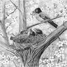 Robin&#x27;s Nest - Breakfast Time - Charcoal by Gordon Pegler