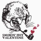 Hipster possum smokin hot pipe glasses Valentines Day by BigMRanch