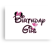Birthday Girl with Mouse ears Metal Print