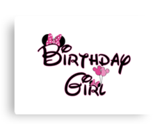 Birthday Girl with Mouse ears Canvas Print