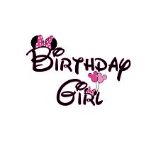 Birthday Girl with Mouse ears Photographic Print