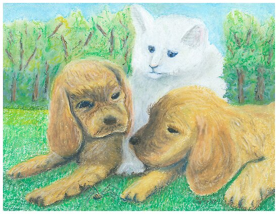 What is it? 2 Puppies and a Kitty watching a Daddy Long Leg  by Gordon Pegler