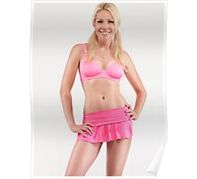 Young smiling pretty woman in pink skirt art photo print Poster
