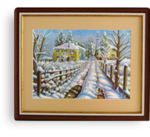 Winter at the Village Canvas Print