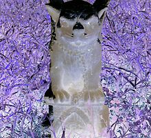 Victorian evil gothic Gargoyle purple hues altered art from a childs view by bkind2animals