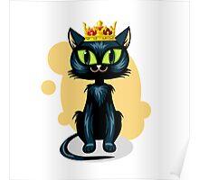 Black cat in golden crown Poster